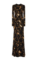 Naeem Khan Long Sleeve Bird Embellished Gown Black