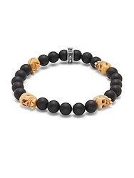 King Baby Studio Bone And 8Mm Beaded Onyx Skull Charm Bracelet Black