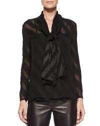 Burberry Angled Stripe Self Tie Blouse Black