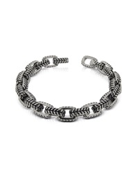 Zoppini Zo Chain Stainless Steel And Black Enamel Link Bracelet Silver