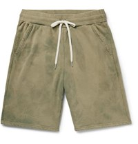 John Elliott Tie Dyed Loopback Cotton Jersey Drawstring Shorts Sage Green