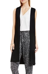 Vince Camuto Women's Patch Pocket Open Front Long Vest Rich Black