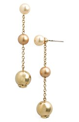 Women's St. John Collection Glass Pearl And Metal Bead Drop Earrings