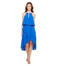 Adrianna Papell Gauzy Crepe Popover High Low Dress With Wrap Skirt And Hardware On Neckline Bright Cobalt Women's Dress Blue