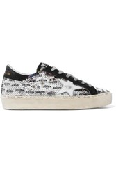 Golden Goose Hi Star Distressed Sequined Leather Sneakers Black