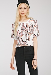Forever 21 Palm Tree Print Tee Cream Coral