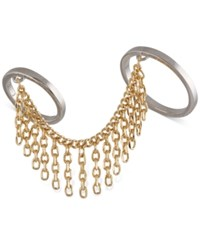 French Connection Two Tone Two Finger Fringe Ring