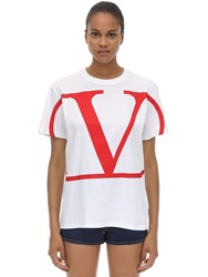 Valentino Vlogo Printed Cotton Jersey T Shirt White
