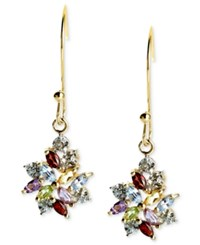 Victoria Townsend 18K Gold Over Sterling Silver Earrings Multistone And Diamond Accent Cluster Drop Earrings