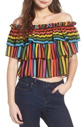 Wayf Toulon Tiered Ruffle Top Rainbow Stripe