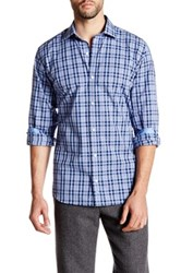 Tailorbyrd Collared Navy Long Sleeve Plaid Woven Shirt Blue