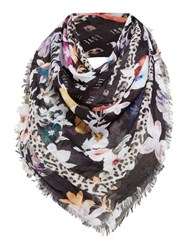 Oui Floral Animal Scarf White