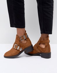 Pimkie Cut Out Heeled Ankle Boots Tan