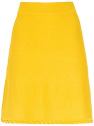Egrey Knitted Flared Skirt Yellow