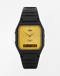 Casio Gold Face Black Resin Strap Watch Aw48he 9A Black