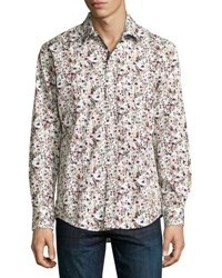 1 Like No Other Red Floral Print Button Front Sport Shirt Purple
