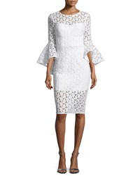 Milly Anya Bell Sleeve Embroidered Sheath Dress White White Pattern