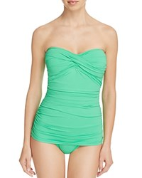 Tommy Bahama Shirred Twist Bandeau One Piece Swimsuit Clearwater Green