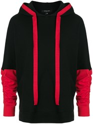 Unconditional Contrast Panel Ruched Sleeve Hoodie Black
