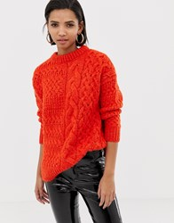 Mango Cable Oversized Jumper In Orange