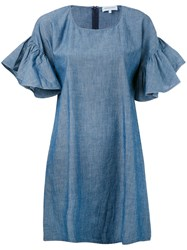 Maison Labiche Ruffle Sleeve Shift Dress Women Cotton S Blue