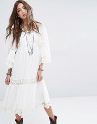Denim And Supply Ralph Lauren By Embroidery Anglaise Midi Dress With Bell Sleeve White
