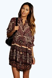 Boohoo Woven Paisley Print Shirt Dress Berry