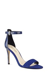Nine West Women's 'Mana' Ankle Strap Sandal Blue Blue Suede Snake
