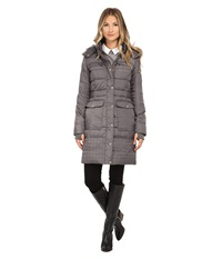 Sam Edelman Long 3 4 Down W Horizontal Quilting And Side Tab Detail Jacket Charcoal Women's Coat Gray