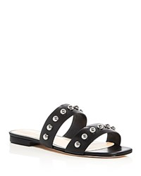 Isa Tapia Camelia Studded Double Strap Slide Sandals Black Silver