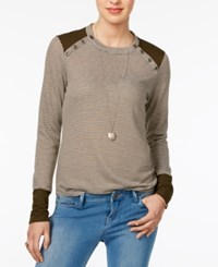 Maison Jules Striped Button Detail Top Only At Macy's Dusty Olive Combo