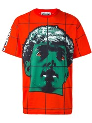 Moschino Face Print T Shirt Red
