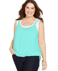 Style And Co. Plus Size Solid 2Fer Tank Pacific Aqua