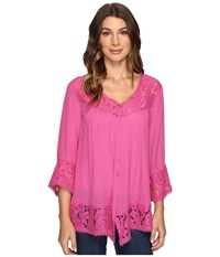 Brigitte Bailey Fennec Lace Top Rose Red Women's Clothing Pink