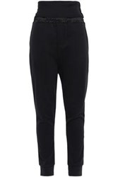 Ann Demeulemeester Woman Grimm Satin Trimmed French Cotton Terry Track Pants Black