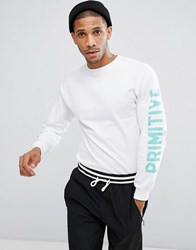 Primitive Skateboarding Long Sleeve T Shirt With Sleeve Print In White White