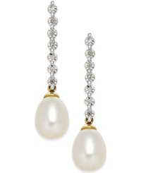 Macy's Cultured Freshwater Pearl 7Mm And Diamond Accent Drop Earrings In 14K Gold