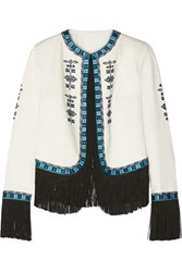 Talitha Zoe Fringed Embroidered Cotton Twill Jacket Ivory