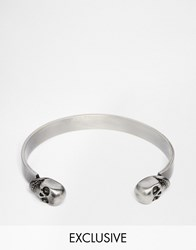 Simon Carter Double Skull Cuff Bangle Bracelet Silver