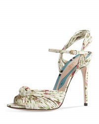 Gucci Allie Floral Print Leather Sandal White