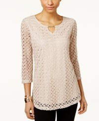 Jm Collection Crochet Lace Keyhole Top Only At Macy's Taupe