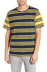 Native Youth Contrast Stripe Pocket T Shirt Navy