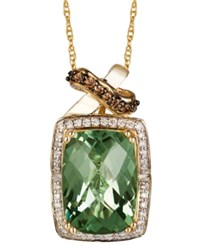 Le Vian Green Amethyst 5 5 8 Ct. T.W. And White 1 10 Ct. T.W. And Chocolate 1 10 Ct. T.W. Diamond Pendant Necklace In 14K Rose Gold