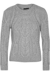 Belstaff Cowes Cable Knit Cashmere Sweater Gray