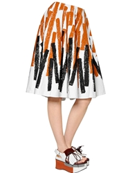 Marni Printed Cotton And Linen Drill Skirt Brown Black