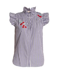 Bliss And Mischief Cherry Embroidered Gingham Cotton Shirt Blue White