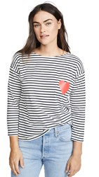 Chinti And Parker Breton Stripe Tee Cream Navy Red