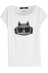 Karl Lagerfeld Embroidered Linen T Shirt