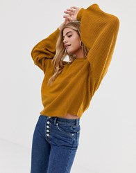 Brave Soul Harris Jumper With Balloon Sleeves Tan
