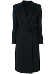 Tagliatore Long Fitted Coat Women Virgin Wool 38 Blue
